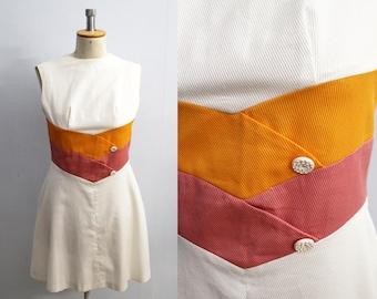 Vintage 60s dress color block fit and flare dress skater dress | white dress 60s mini dress | casual dress