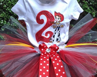 Red Jessie Toy Story 2nd Birthday Outfit Onesie Tutu FREE Hair Bow Personalized