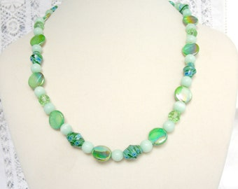 Shell and  millefiore glass bead necklace