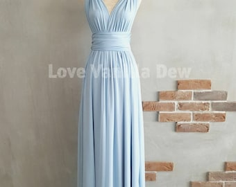 Bridesmaid Dress Infinity Dress Powder Blue with Chiffon Overlay Floor Length Maxi Wrap Convertible Dress Wedding Dress