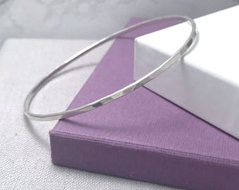 Sterling Silver Bangle | Hammered Silver Stacking Bangle | Gifts For Her | Silver Bangles UK