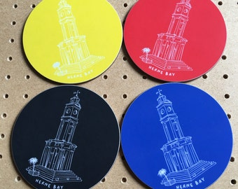Coasters - gift for the home - Herne Bay - Souvenir - clocktower - Kent - Herne Bay Clocktower Coasters