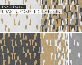 Triangles kraft digital paper, triangle pattern, natural, neutral kraft, grey, black and white, brown geometric, geometrical tribal triangle