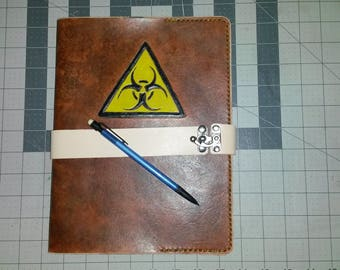 Leather Composition Book Cover - Biohazard Symbol