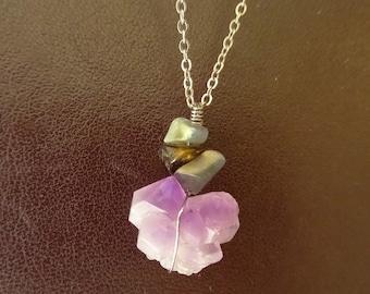 Necklace gemstones: Amethyst, labradorite
