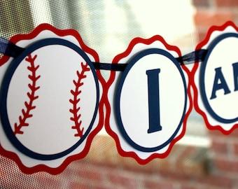 Baseball Highchair Banner - Baseball First Birthday Banner - I am 1 Highchair Banner - Baseball Theme Birthday Banner - Sports 1st Birthday