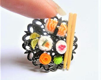 Food Jewelry, Sushi Ring, Miniature Food Jewelry, Miniature Sushi Ring, ,Mini Food Jewelry, Sushi Lover, Sushi Jewelry, Japanese Food Ring