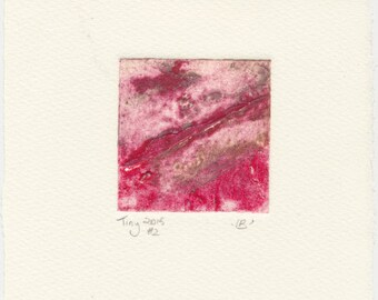 Tiny collagraph 2015 series #2 red and grey affordable original art