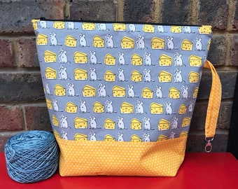 Mice with Cheese- Large Zippered Project Bag