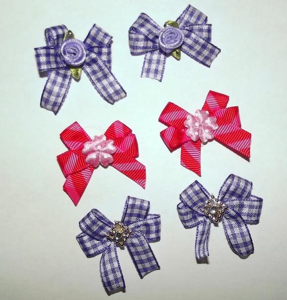 Puppy Bows ~6 purple pink gingham EVERYDAY BOWS Yorkie Maltese Shih Tzu ~Usa seller (fb81)