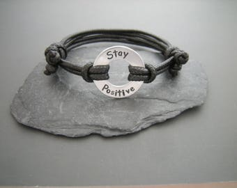 Stay Positive Bracelet, Washer bracelet, custom washer bracelet, Infinity Ring, Gift for Him, Stamped Washer, Gift for friend, Motivational