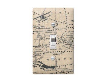 Airplane Light Switch Plate or Outlet Cover / Baby Boy Nursery Room / Vintage Map Plane Dark Gray Natural Cream Beige Felix / Premier Prints