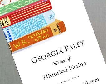 Librarian,Writer,Book Collector, Vintage Books, Book Stack, Business Card, Set of 50
