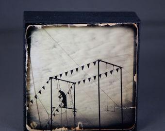 Circus Trapeze Sepia Photograph on Wood Panel--4x4 Fine Art