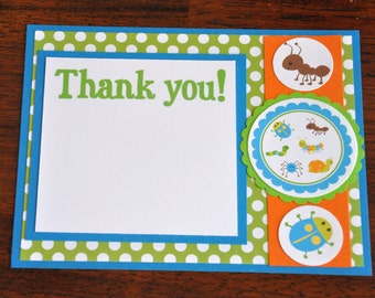 Bug Thank yous .Insect Thank yous. A2. Birthday. Set of 6. Choose boy or girl. Thank you cards