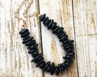 Onyx Chip & Rose Gold Necklace