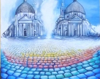 Original painting Rome-acrylic on canvas colorful gift piece glimpse