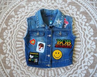 Lil'Rockers kids denim Battle Vest. Size 6-7