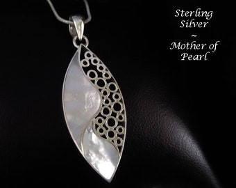 Necklace with Mother of Pearl in Ornate Sterling Silver, Artisan Crafted in Bali | Jewelry, Gifts for Women, Silver Jewelry, Gift Idea, 066