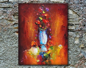 Original Oil Painting Flower Painting with vase Red Blossom | Texture Flowers  Modern look Painting Wall Decor Flower Painting Kitchen Decor
