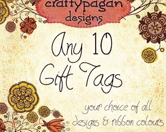 Assorted Gift Tags-Your Choice of ANY 10 Tag Designs in My Shop-Set of 10