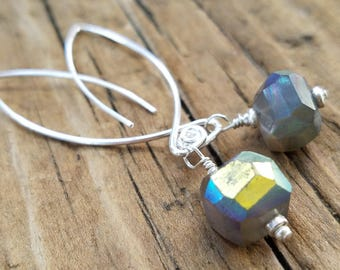 Mystic Gray Moonstone Earrings and Hill Tribe Silver, June Birthstone, Moonstone and Sterling Silver, Moonstone Jewelry, Pierced Earrings,