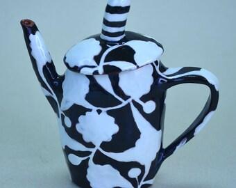 Tiny Teapot. Black and White Flower.