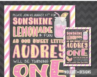 Pink Lemonade Party Invitation, Pink lemonade invitation, Lemonade invitation, Lemonade birthday, Pink lemonade party, Lemonade party