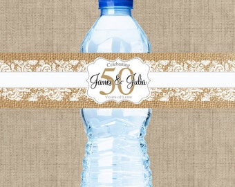 Burlap and Lace Anniversary Water Bottle Labels - 50th Anniversary - Anniversary Bottle Wraps - Anniversary Favors - Anniversary Decor