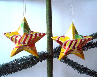 Recycled Squirt Grapefruit Soda Can Aluminum Stars - Set of 2 Christmas Ornaments