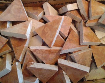 50- BROWN/TAN Cut Marble Triangles For Mosaics.