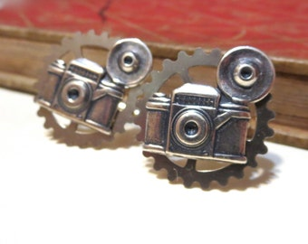 Antique Silver Camera Cufflinks - Gold Plated - Cuff Links - Antiqued Silver - Photographer - Soldered - Photography