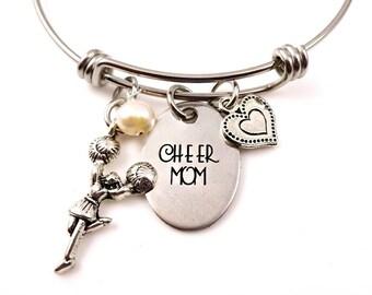 Cheer Mom Cheerleading Bangle Bracelet or Necklace