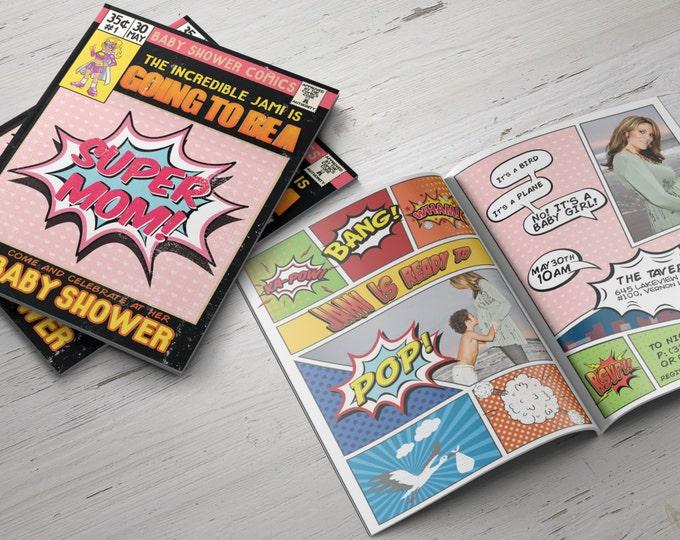 Super Hero Baby Shower Invitations,  Comic Invitation, Hero Invitation, Super Hero Party, Comic Invitation, Invite
