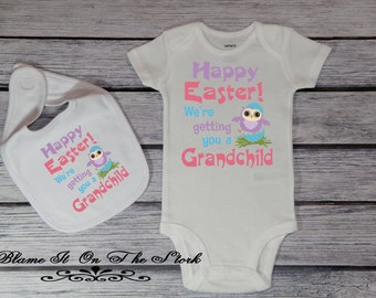Grandchild easter etsy new grandchild announcement bodysuit new grandparents easter gift baby reveal baby bodysuit baby negle Gallery