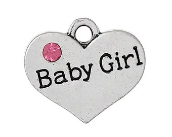 4 Silver Baby Girl Charms - Babyshower charms - Antique Tibetan Silver Heart Charms - Mother to be jewelry charms -MC0596