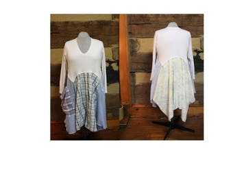 Lagenlook Dress Shabby Chic Tunic Dress Patchwork Hippie Style, Lagenlook Anthropologie Style Women's Plus Size Upcycled Clothing