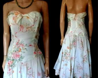 Richards Shops Vintage Dress 50,s Banbeau Full Gathered Skirt Boned fitted Waist 50,s Swing  Cream Peach Cottage Garden Dress Vgc UK 8