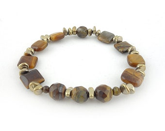 Tiger Eye Stretch Cord Bracelet with Gold Tone Nuggets