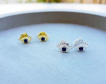 evil eye earrings, greek eye earrings,gold earrings, silver earrings, tiny evil eye earrings, mati jewellery, turkish eye