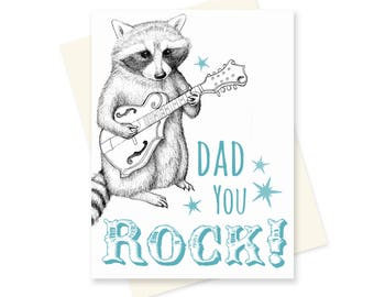 Funny Fathers Day Card. Cute Raccoon Card. Happy Father's Day. For Dad. You Rock. Bluegrass Father. Nerdy Animal Card. Gift for Dad.