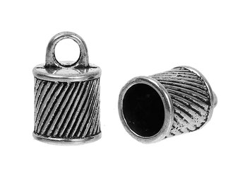 10 Silver End Caps for Kumihimo Jewelry, Striped Twisted Design, Leather Cord End Connectors, Bails, Bead Caps, Fits 8mm cord, fin0659