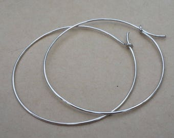2 Inches Sterling Silver Hoop Earrings