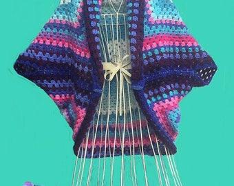 Oversized crochet cocoon cardigan, boho cardigan, grannysquare shrug, cocoon cardigan, batwing cardigan