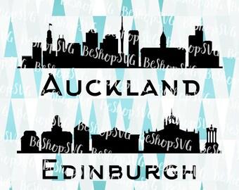 Auckland City SVG, Edinburgh SVG, Cities SVG, New Zealand Svg, Scotland Svg, Instant download, Eps - Dxf - Png - Svg