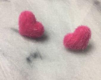 Pink fuzzy heart earrings