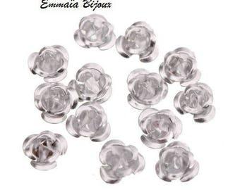 20 silver 6 mm aluminum flower beads