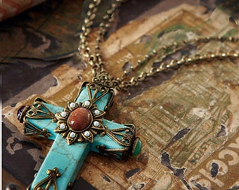 Turquoise cross etsy turquoise cross necklace southwest cathedral cross necklace cross pendant turquoise jewelry aloadofball Image collections