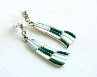 Zuni Dangle Earrings Malachite and Mother of Pearl Dangles Vintage Native American Sterling Silver White and Green Stone