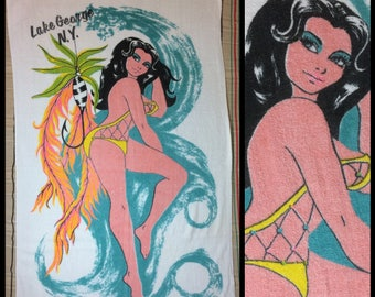 1970s sexy pin-up souvenir cotton beach towel by St. Mary Lake George NY fishnet swimsuit fishing lure pinup woman spring break